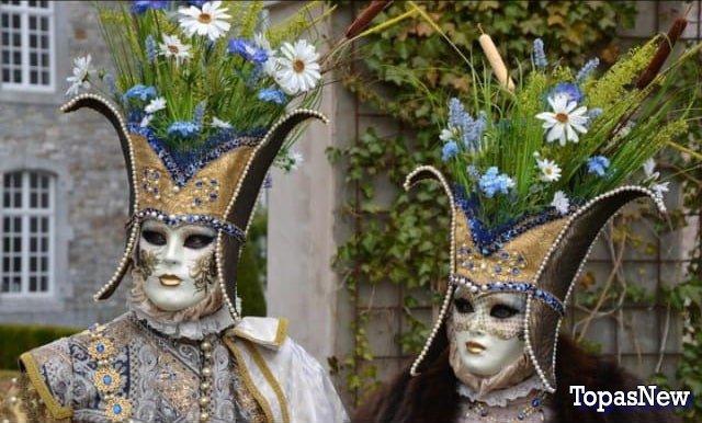 Пара в карнавальных костюмах - картинка